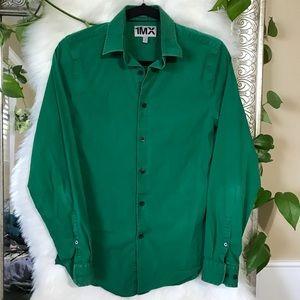 S Mens green express dress shirt